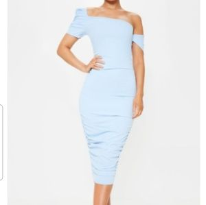 One shoulder Midi Dress with Ruched detail
